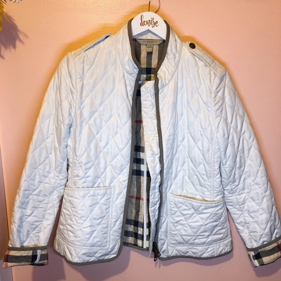 Burberry White Diamond Quilted Jacket Sz L